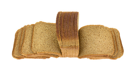 Thin Sliced Wheat Bread Fanned Out Top Angle