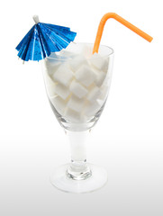 Drink with sugar cubes, umbrella and straw