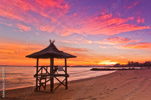 Colorful sunset on the beach