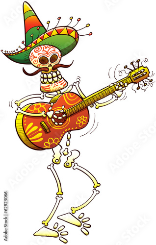 Cool Mexican skeleton playing guitar