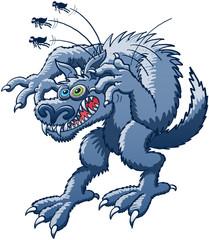 Halloween Werewolf scratching fleas