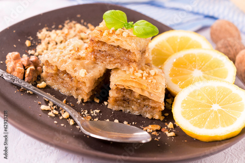 Baklava in the plate