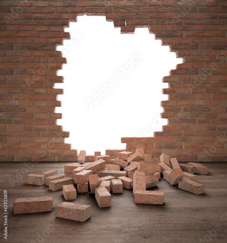Opening in a brick wall