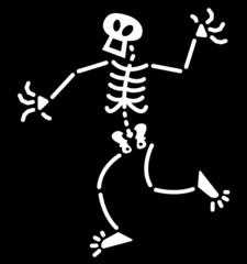 Surprised Halloween skeleton in a dubious attitude