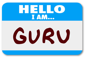 Guru Word Name Tag Sticker Teacher Guide Mentor Expert