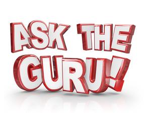 Ask the Guru Question 3D Words Help Guidance Assistance