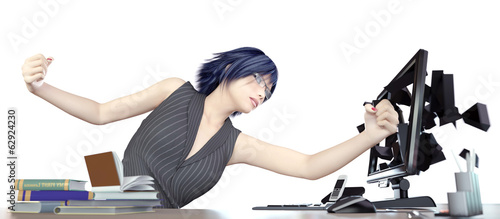 Angry working woman and computer concept illustration