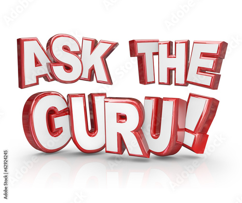 Ask the Guru Question 3D Words Help Guidance Assistance