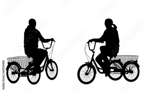 young woman riding tricycle silhouettes - vector