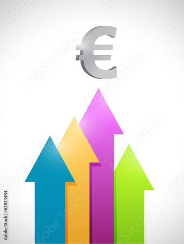 euro colorful business graph moving up.