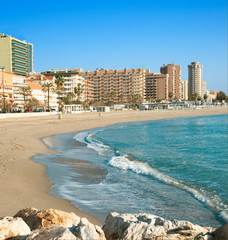 Fuengirola Beach, tourist city on the coast of the Mediterranean