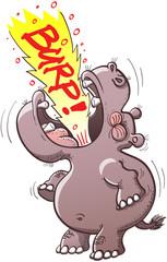 Chubby hippopotamus burping loudly