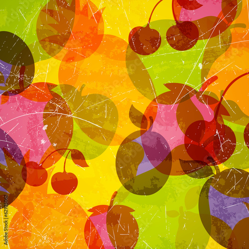 Vector Illustration of an Abstract Background with Fruits