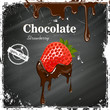 Vector Chocolate Strawberry Poster on a Black Chalkboard