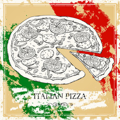 Vector Illustration of an Italian Pizza Poster