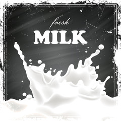 Vector Illustration of a Milk Poster on a Black Chalkboard