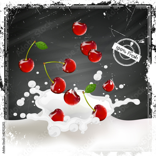 Vector Illustration of Cherries falling into a Splash of Milk