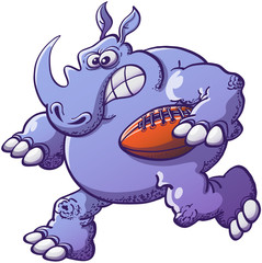 Brave Rhinoceros Playing Rugby