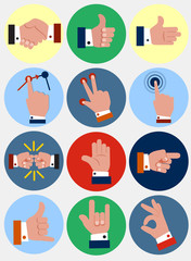 hand flat icons