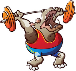 Strong Hippopotamus Lifting Weights