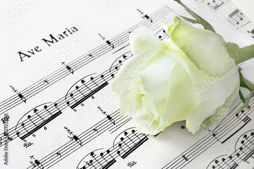 Leinwanddruck Bild Ave Maria - Noten und Rose
