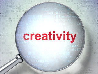 Marketing concept: Creativity with optical glass