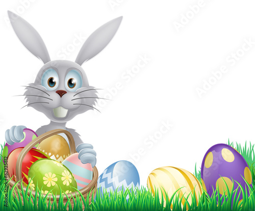 White Easter bunny and eggs