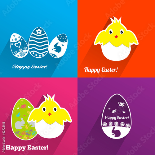 Set of Easter backgrounds with eggs and chickens
