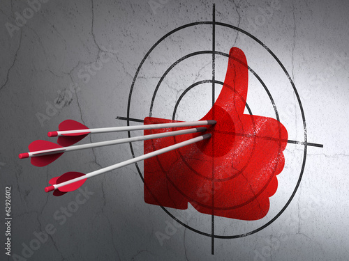 Social network concept: arrows in Thumb Up target on wall