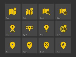 Map icons. GPS and Navigation.
