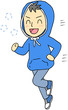 パーカー男性 ジョギング 笑顔