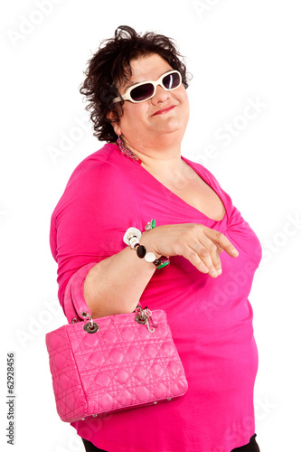 portrait of cheerful woman with her bag