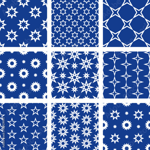 Set of 9 seamless patterns with stars
