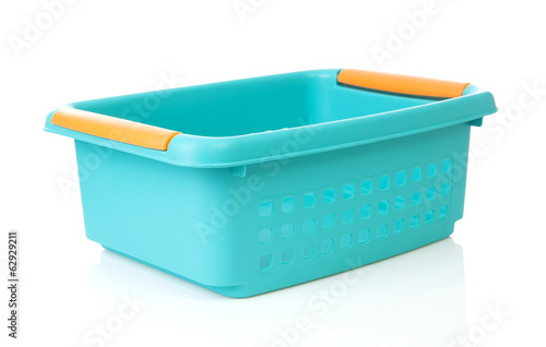 Empty blue basket made of plastic