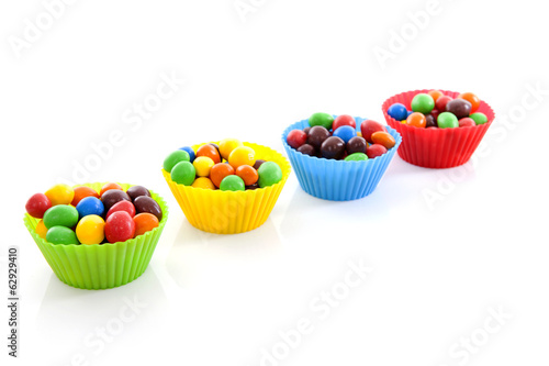 Cups with colorful candy