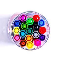 Colorful markers pens isolated.top view