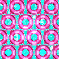 Pink Swim Rings On Water For Background