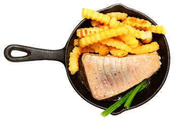 Oven Baked Sashimi Tuna with Fries and Green Onion