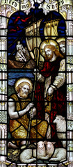 St. Peter and Jesus with keys, in stained glass.