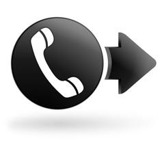 combiné téléphone sur bouton noir