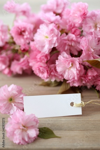 Label with japanese cherry on background