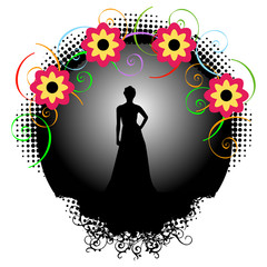 Supermodel graphic with colorful flowers