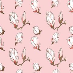 Vector magnolia flowers seamless pattern