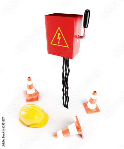 Electrical panel road cone hardhat on a white background