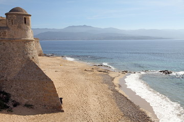 Citadel and beach, Ajaccio, Corsica, France