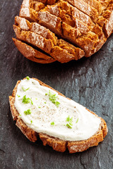 Fresh cream cheese with herbs