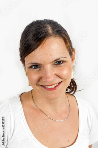 portrait of a beautiful young woman with white background