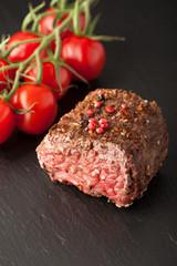 Roast beef. Background chalk board