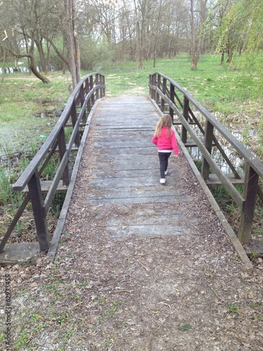 little hiker on the bridge