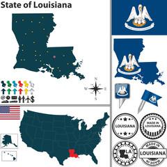 Map of state Louisiana, USA